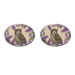 Vintage Owl And Lilac Cufflinks (oval) by Valentinaart