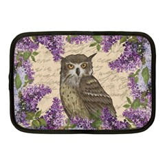 Vintage Owl And Lilac Netbook Case (medium)  by Valentinaart