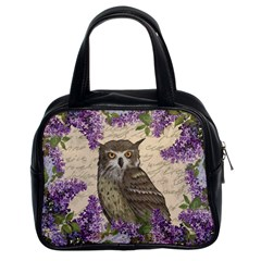 Vintage Owl And Lilac Classic Handbags (2 Sides) by Valentinaart