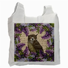 Vintage Owl And Lilac Recycle Bag (one Side) by Valentinaart