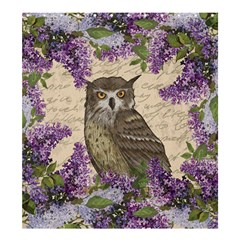 Vintage Owl And Lilac Shower Curtain 66  X 72  (large)  by Valentinaart