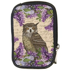 Vintage Owl And Lilac Compact Camera Cases by Valentinaart