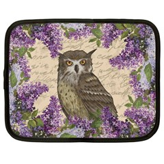Vintage Owl And Lilac Netbook Case (xl)  by Valentinaart