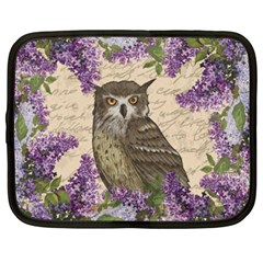 Vintage Owl And Lilac Netbook Case (xxl)  by Valentinaart