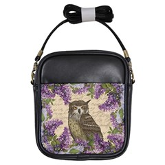 Vintage Owl And Lilac Girls Sling Bags by Valentinaart
