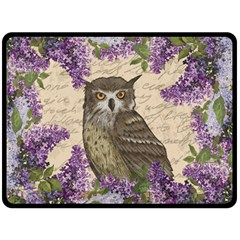 Vintage Owl And Lilac Fleece Blanket (large)  by Valentinaart