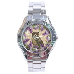 Vintage Owl And Lilac Stainless Steel Analogue Watch by Valentinaart