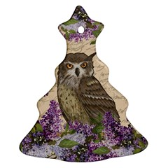 Vintage Owl And Lilac Christmas Tree Ornament (two Sides) by Valentinaart