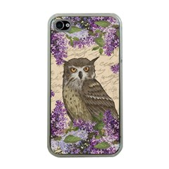 Vintage Owl And Lilac Apple Iphone 4 Case (clear) by Valentinaart
