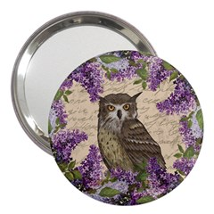 Vintage Owl And Lilac 3  Handbag Mirrors by Valentinaart