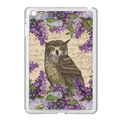 Vintage Owl And Lilac Apple Ipad Mini Case (white) by Valentinaart