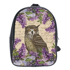 Vintage Owl And Lilac School Bags (xl)  by Valentinaart