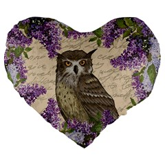 Vintage Owl And Lilac Large 19  Premium Heart Shape Cushions by Valentinaart