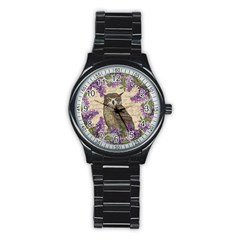 Vintage Owl And Lilac Stainless Steel Round Watch by Valentinaart