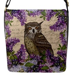 Vintage Owl And Lilac Flap Messenger Bag (s) by Valentinaart