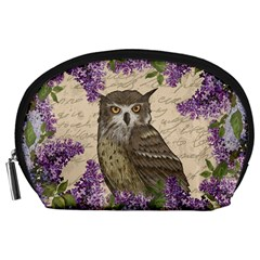 Vintage Owl And Lilac Accessory Pouches (large)  by Valentinaart