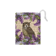 Vintage Owl And Lilac Drawstring Pouches (small)  by Valentinaart