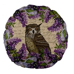 Vintage Owl And Lilac Large 18  Premium Flano Round Cushions by Valentinaart