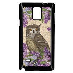 Vintage Owl And Lilac Samsung Galaxy Note 4 Case (black) by Valentinaart