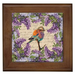 Vintage Bird And Lilac Framed Tiles by Valentinaart