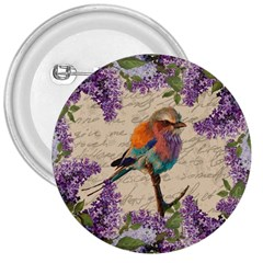 Vintage Bird And Lilac 3  Buttons by Valentinaart