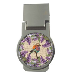 Vintage Bird And Lilac Money Clips (round)  by Valentinaart