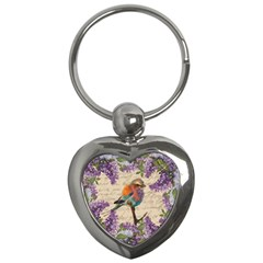 Vintage Bird And Lilac Key Chains (heart)  by Valentinaart