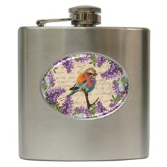 Vintage Bird And Lilac Hip Flask (6 Oz) by Valentinaart