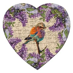 Vintage Bird And Lilac Jigsaw Puzzle (heart) by Valentinaart
