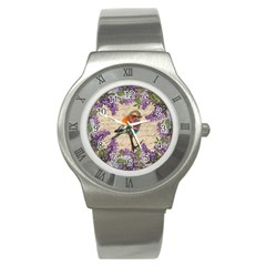 Vintage Bird And Lilac Stainless Steel Watch by Valentinaart