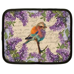 Vintage Bird And Lilac Netbook Case (large) by Valentinaart