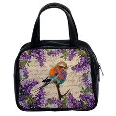 Vintage Bird And Lilac Classic Handbags (2 Sides) by Valentinaart