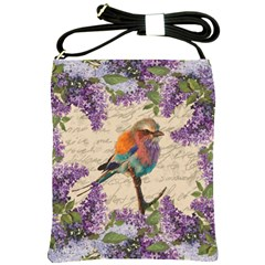 Vintage Bird And Lilac Shoulder Sling Bags by Valentinaart