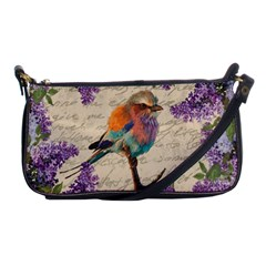 Vintage Bird And Lilac Shoulder Clutch Bags by Valentinaart
