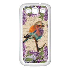 Vintage Bird And Lilac Samsung Galaxy S3 Back Case (white) by Valentinaart
