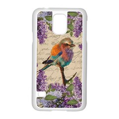 Vintage Bird And Lilac Samsung Galaxy S5 Case (white) by Valentinaart