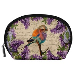 Vintage Bird And Lilac Accessory Pouches (large)  by Valentinaart