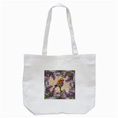 Vintage Bird And Lilac Tote Bag (white) by Valentinaart