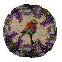 Vintage Bird And Lilac Large 18  Premium Flano Round Cushions by Valentinaart