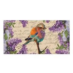 Vintage Bird And Lilac Satin Shawl by Valentinaart