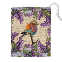 Vintage Bird And Lilac Drawstring Pouches (xxl) by Valentinaart