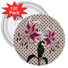 Vintage Flowers 3  Buttons (100 Pack)  by Valentinaart