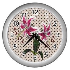 Vintage Flowers Wall Clocks (silver)  by Valentinaart