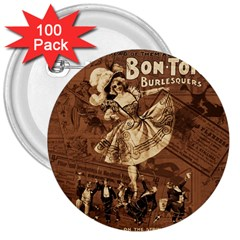 Bon Ton 3  Buttons (100 Pack)  by Valentinaart