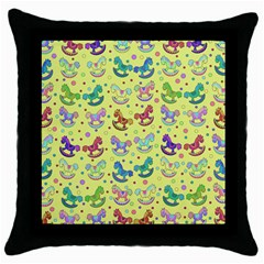 Toys Pattern Throw Pillow Case (black) by Valentinaart