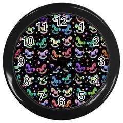 Toys Pattern Wall Clocks (black) by Valentinaart