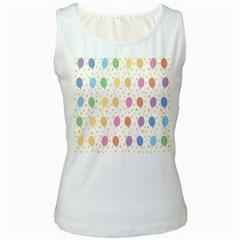 Balloon Star Rainbow Women s White Tank Top