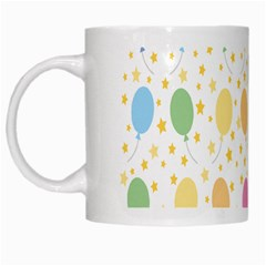 Balloon Star Rainbow White Mugs by Mariart