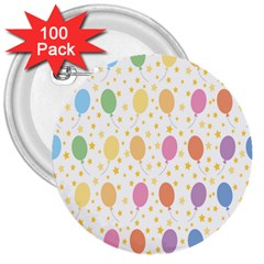 Balloon Star Rainbow 3  Buttons (100 Pack)  by Mariart