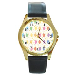 Balloon Star Rainbow Round Gold Metal Watch